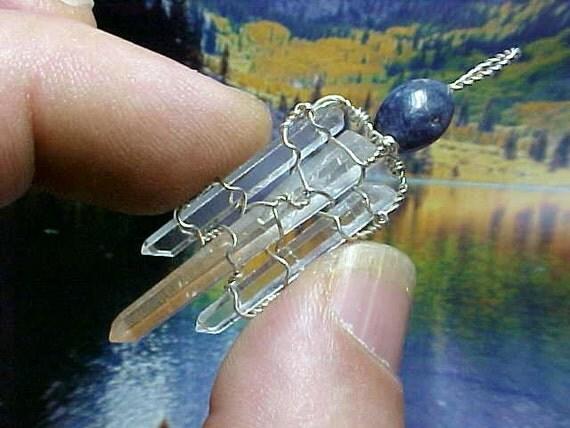 Tibetan OM Needle Crystals Blue Sapphire Silver Pendant e007