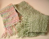 Soft and Warm Pastel Rainbow or Green Scarf