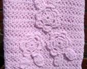 Pink Scallop Crochet Baby Blanket