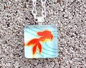 Goldfish Chiyogami Washi Glass Tile Pendant