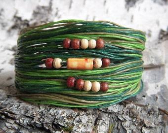 Green Adjustable Waxed Linen Bracelet