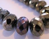 Jet Brown Iris Czech Glass Bead 9x6mm Faceted Rondelle - 12 pieces    (ST501-12)