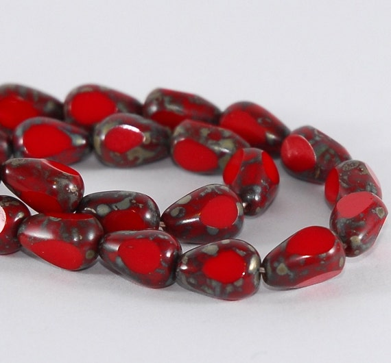 Czech Glass Bead Pear Drop 12x8mm Opaque Red Picasso  - 10 pieces (ST580)