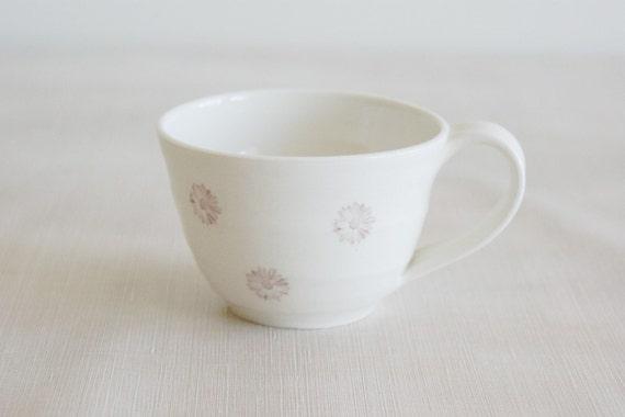 Mug Ceramic Wheelthrown Porcelain Daisy Cup