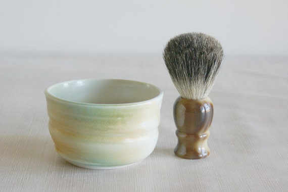 Handmade Shaving Bowl Shaving Cup for Hot Wet Shave in Cream, Turquoise and Rust