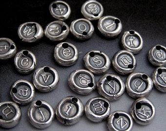 Itty Bitty Fine Silver Wax Seal Style Pendant - Custom Lowercase Initial of your choice WITHOUT chain