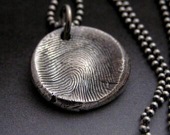 Fingerprint Charm Necklace in Fine Silver