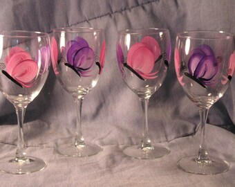 Butterfly Hand Painted Wine Glass