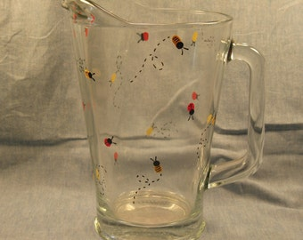 Hand Painted Ladybug and Bee Pitcher