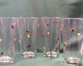 Hand Painted Ladybug and Bee Beverage Glasses