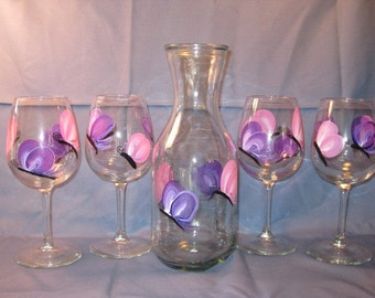 Hand Painted Butterfly Wine Glasses and Carafe