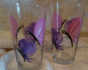 Hand Painted Butterfly Beverage Glasses