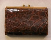Vintage 1940s Purse brown leather crocodile pattern