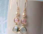Pastel Dress. Pink Green Pastel Jewels Earrings, Pastel Jewelry, Pastel Earrings, Spring Fashion