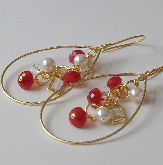 LAST ONE Red Crystal and Pearl Cluster Earrings