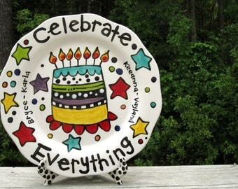 "CUSTOM 13""  Celebration Platter Personalized colorful happy ceramic cake candles and fun"