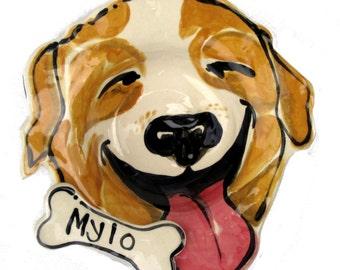 small medium or large Custom portrait Dog Bowl personalized free any dog pottery dish