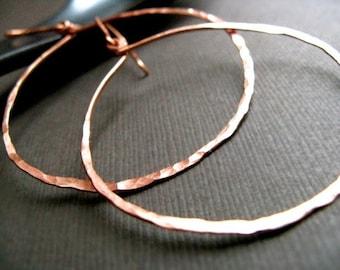 Copper Hoop Earrings - Small / Textured