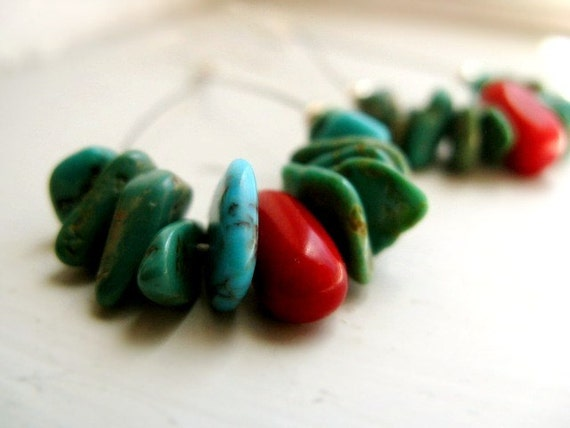 Turquoise Hoop Earrings - Turquoise & Coral with Sterling Silver / Modern