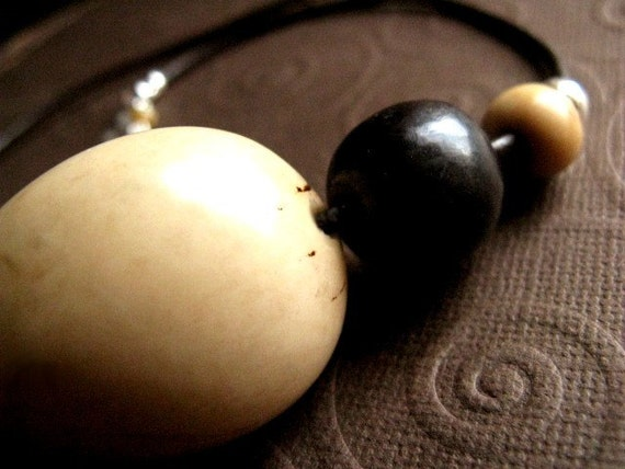 Tagua Acai Necklace - Sterling Silver & Leather / Eco Friendly