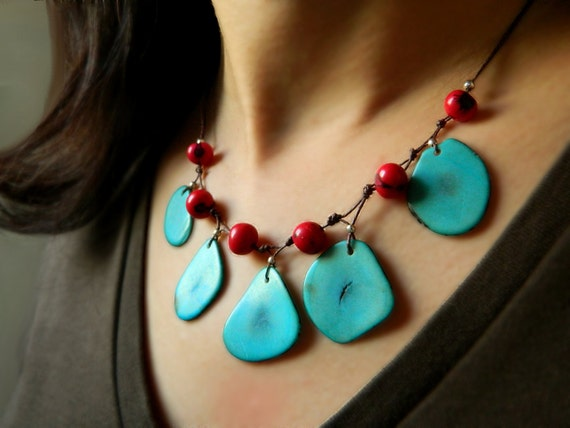 Statement Necklace - Eco Tagua & Acai in Cielo Blue and Samba Red / Handmade Eco friendly
