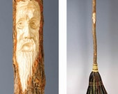 Hand Carved Kitchen Broom Sweeper in your choice of Natural, Black, Rust or Mixed Broomcorn, with Tree Spirit Wizard Carving / Wedding Broom