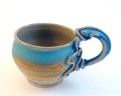 MUG, Octopus, Squid- RESERVED for Phoebeviolin-  Natural Clay with Brushed Turquoise and Blue Stoneware