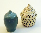 Two Tiny Vessels- Spotted Sea Junonia Shell with Lid and Teal Bottle