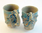 MUG SET- Octopus Squid SALE- Brushed Turquoise Pair of 2 Atlantis Stoneware (was 79)