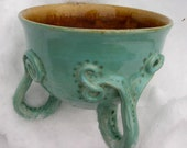 Bowl- Footed Turquoise Green Branched Tentacle - Stoneware