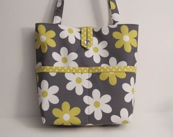 On Sale DeaniesDuffles Classy Classic Diaper Bag or Tote in Lil Plain Jane in Grey and Dumb Dots in Citron by Michael Miller