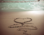 HEART Beach Sand Writing Fine Art Print - Travel, Scenic, Landscape, Nature, Home Decor, Zen