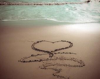 HEART Beach Sand Writing Fine Art Print - Travel, Scenic, Landscape, Nature, Home Decor, Zen