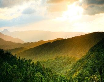 Sunlit Blue Ridge Mountains Fine Art Print - Travel, Scenic, Landscape, Nature, Home Decor, Zen