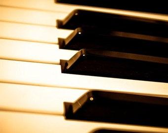 Golden Piano Keys Fine Art Print- Vintage, Nostalgic, Home Decor, Photography, Gift, Zen