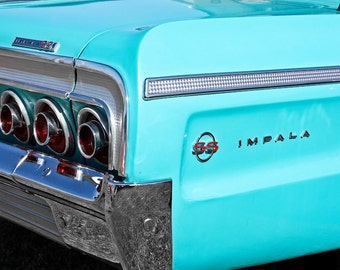 1964 Chevrolet Impala SS Car Photography, Automotive, Auto Dealer, Muscle, Sports Car, Mechanic, Boys Room, Garage, Dealership Art