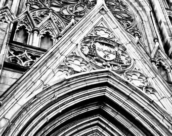 New York Cathedral Church in Black & White Fine Art Print - Travel, Scenic, Landscape, Nature, Home Decor, Zen