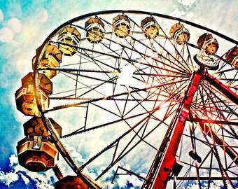 Ferris Wheel & Sunlight Fine Art Print- Carnival Art, County Fair, Nursery Decor, HomeDecor, Children, Baby, Kids