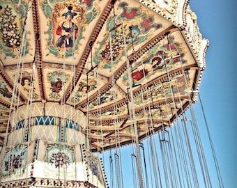 Carnival Swings Ride Fine Art Print- Carnival Art, County Fair, Nursery Decor, Home Decor, Children, Baby, Kids