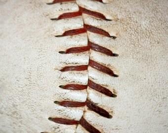 Baseball Stitching Macro Fine Art Print- Vintage, Nostalgic, Home Decor, Photography, Gift, Zen
