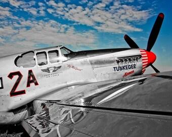 Tuskegee Airmen North American P-51 Airplane Fine Art Print - Military, War, Veteran, Soldier, Flight, Pilot, Wings, Aviation, Fly
