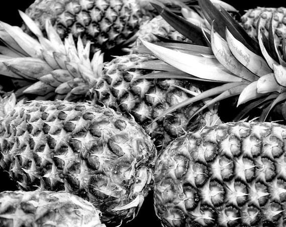 Tropical Pineapple Black & White Fine Art Print - Nature, Botanical, Wildlife, Garden, Nursery Decor, Home Decor, Baby, Zen, Gift