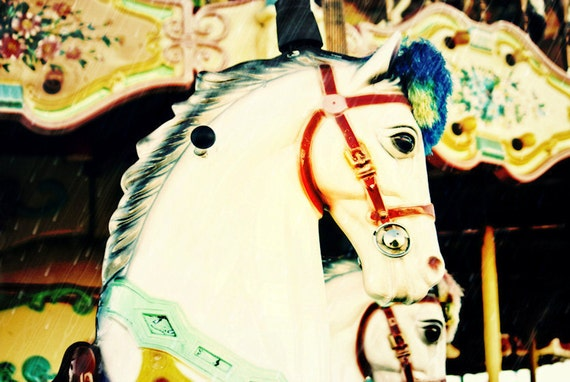 Carousel Carnival Horse Merry-Go-Round Fine Art Print- Carnival Art, County Fair, Nursery Decor, Home Decor, Children, Baby, Kids