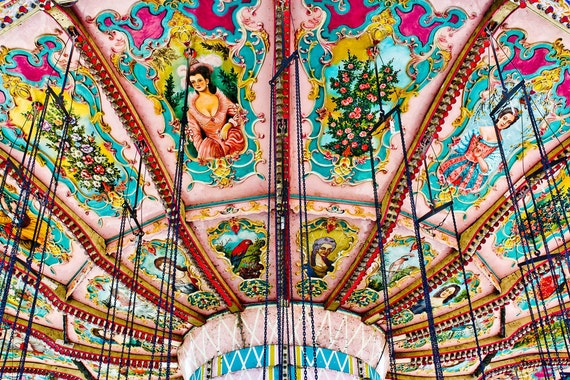 Victorian Carnival Swings in Detail Fine Art Print- Carnival Art, County Fair, Nursery Decor, Home Decor, Children, Baby, Kids