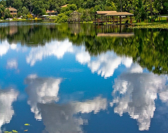 Fluffy Clouds in Blue Water Fine Art Print - Travel, Scenic, Landscape, Nature, Home Decor, Zen