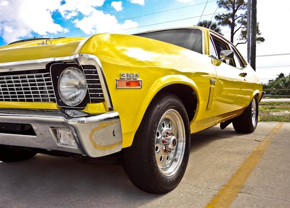 Chevrolet Nova Car Photography, Automotive, Auto Dealer, Muscle, Sports Car, Mechanic, Boys Room, Garage, Dealership Art
