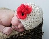 Poppy flower crochet beanie - sz 0-3, 3-6, 6-9 months