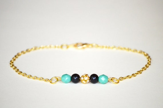 Aqua, Black, and Gold Anklet - Simple Couture