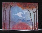 Spirit Crane Note Card Original Art
