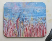 Mouse Pad / Expressionist Original Art Image/ Crane Dance of Two/ Fabric 9.25 by 7.75 by 1/4in